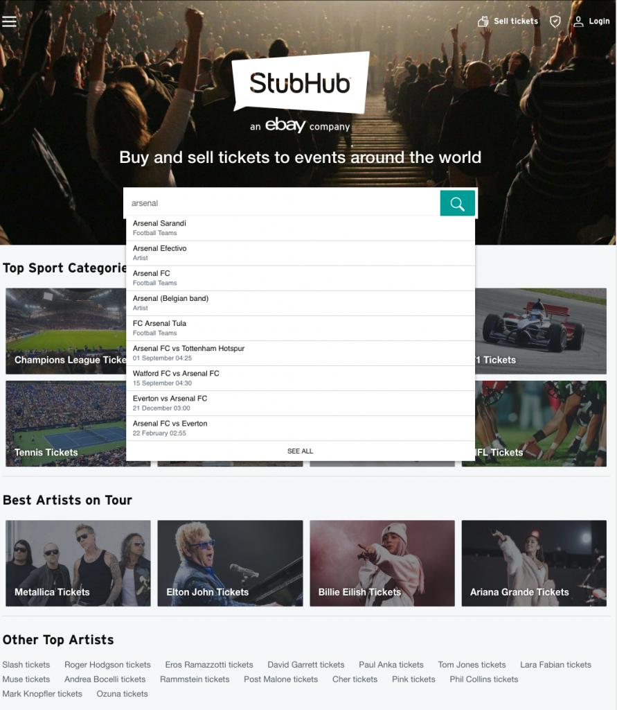 StubHub - search bar and navigation