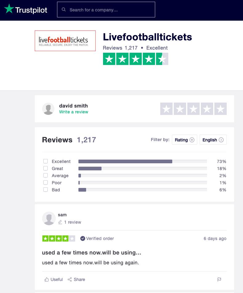 Livefootballtickets reviews Trustpilot