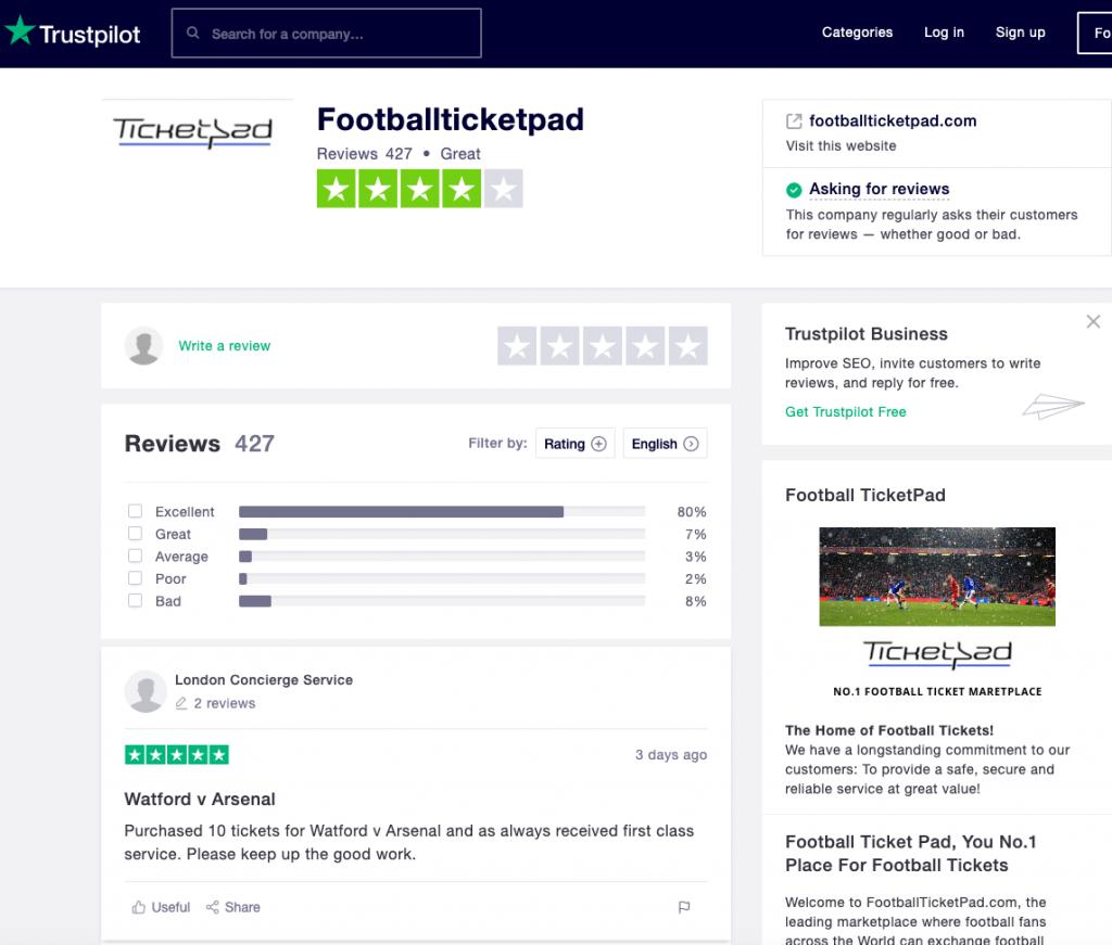 Footballticketpad-Trustpilot-reviews