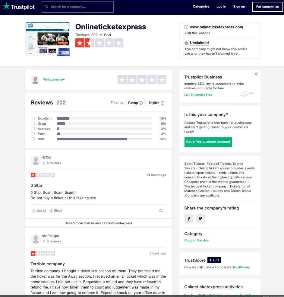 Online Ticket Express - Trustpilot