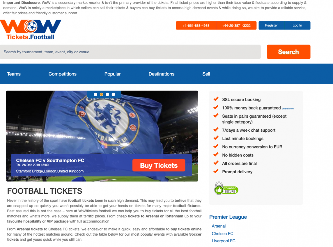 Wow Ticket Home page - SeatPick Review
